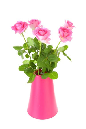 Bouquet of pink roses in vase over white background