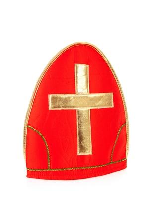 Mitre ook wel bekend als mijter van Sinterklaas, een deel van de typisch Nederlandse traditie, geïsoleerd op een witte achtergrond