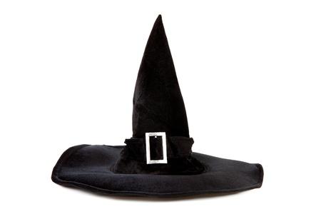 czarownica: Czarny kapelusz czarownica tkanina na Halloween na białym tle Zdjęcie Seryjne