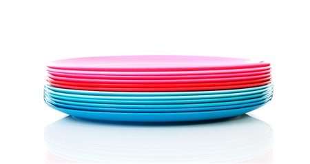 Pile of colorful plastic plates over white background Stock Photo - 11040478  sc 1 st  123RF.com & Pile Of Colorful Plastic Plates Over White Background Stock Photo ...