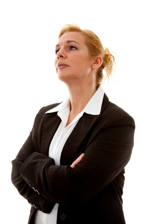 business woman with arms crossed over white background Stock Photo - 11040492