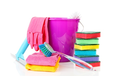 household objects equipment: couple of colorful cleaning equipment over white background Stock Photo