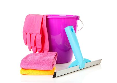 household objects equipment: Bucket and window cleaning equipment over white background Stock Photo