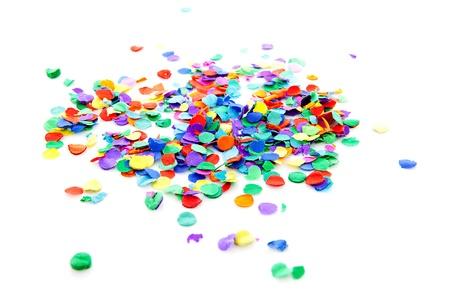 pile of colorful confetti over white background Stock Photo