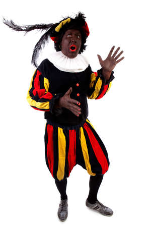 black pete: Zwarte piet ( black pete) typical Dutch character part of a traditional event celebrating the birthday of Sinterklaas in december over white background