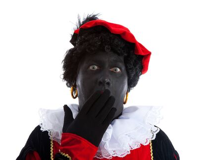 black pete: Zwarte piet ( black pete) typical Dutch character part of a traditional event celebrating the birthday of Sinterklaas in december over white background is looking surprised