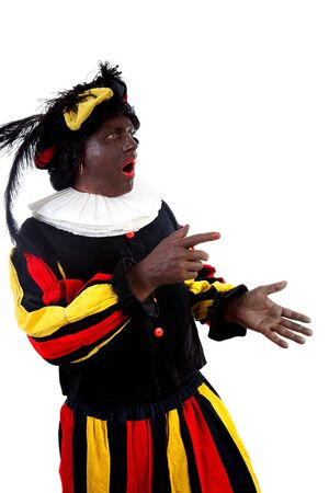 zwarte: Zwarte piet ( black pete) typical Dutch character part of a traditional event celebrating the birthday of Sinterklaas in december over white background is showing