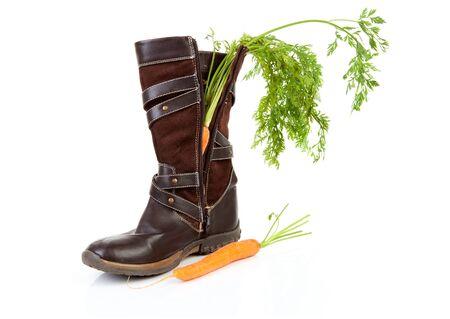 Boot met wortel voor Nederlandse traditionele feest: Sinterklaas over witte achtergrond Stockfoto