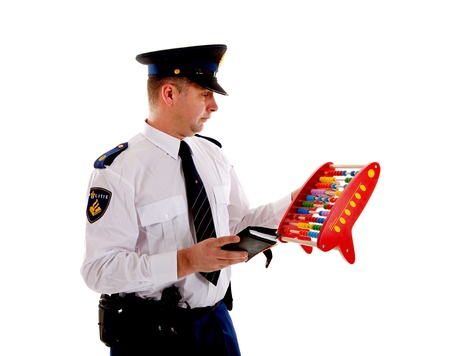 quotas: Dutch police officer is counting vouchers quotas with abacus over white background Stock Photo