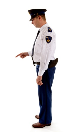 man scolding: Dutch police officer gives a scolding over white background Stock Photo