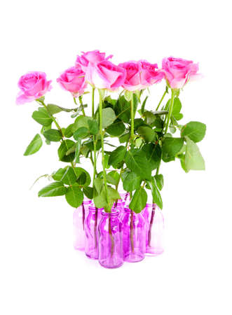 Bouquet of roses in pink vases over white background photo