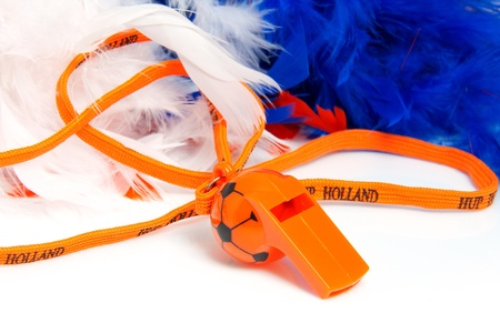 whizz: Orange flute in shape of soccer ball with accessories for Dutch soccer game