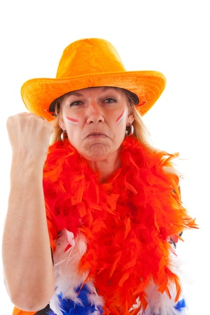 Angry Dutch female soccer supporter in orange outfit over white background photo
