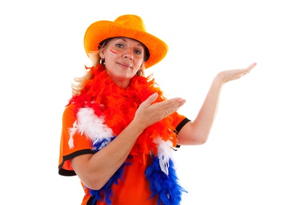 Dutch female soccer supporter in orange outfit is showing over white background photo