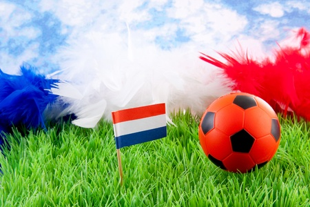orange Soccer ball and Dutch flag on grass against blue cloudy sky Stock Photo - 13951688