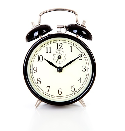 Black alarm clock over white background Stock Photo - 14198787