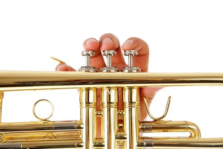 fanfare: Close-up view of mans fingers as he plays trumpet over white background