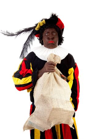 zak: Zwarte piet ( black pete) typical Dutch character part of a traditional event celebrating the birthday of Sinterklaas in december over white background with heavy bag