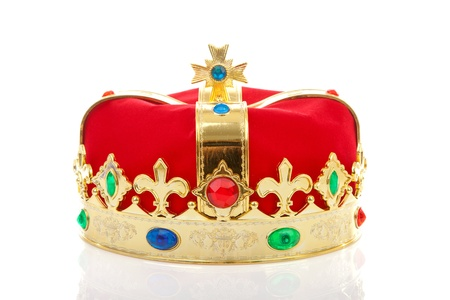 beatrix: Decorated red male crown over white background