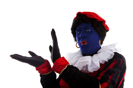 Blue piet ( black pete) jest on typical Dutch character part of a traditional event celebrating the birthday of Sinterklaas in december over white background