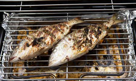 dorade: Two Dorade fishes on the barbecue