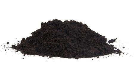 Pile of black garden top soil over white background Reklamní fotografie