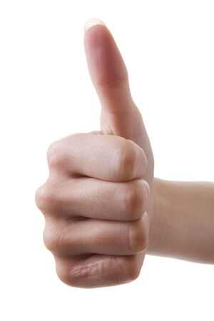gratified: Hand with litte scar thumb up over white background Stock Photo