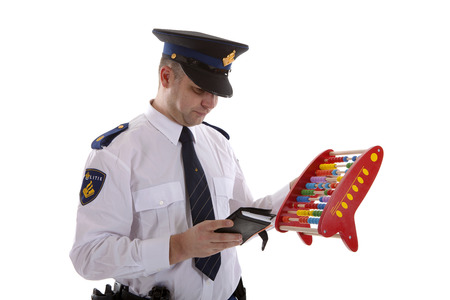 Dutch police officer is counting vouchers quotas with abacus over white background photo
