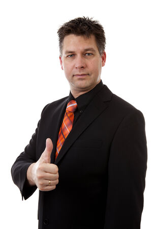 businessman is pleased with thumbs up isolated on white background Stock Photo - 24350891