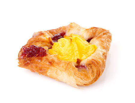 breackfast: Fancy puff pastry with pudding and jam over white background Stock Photo