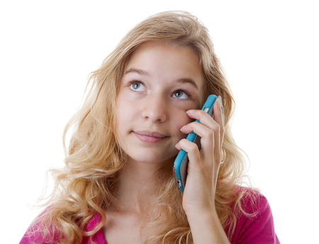 Girl is calling on mobile phone over white background photo