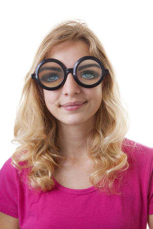 glases: Portrait of girl with funny glases over white background