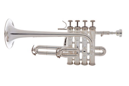 fanfare: Silver trumpet music instrument over white background