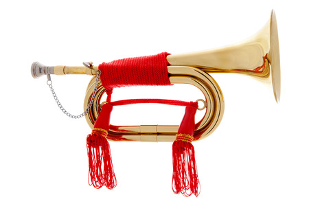fanfare: Golden horn with red rope over white background Stock Photo