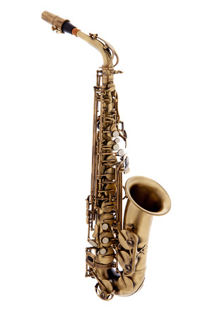 jazz music: copper saxophone instrument over white background Stock Photo