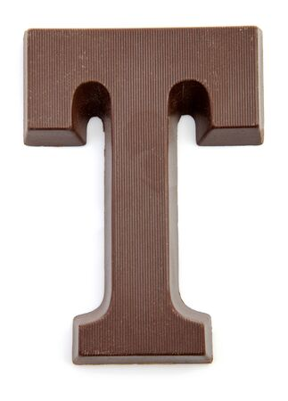 zwarte: Chocolate letter T for Sinterklaas, event in the Dutch in december over white background