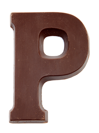 pieten: Chocolate letter P for Sinterklaas, event in the Dutch in december over white background