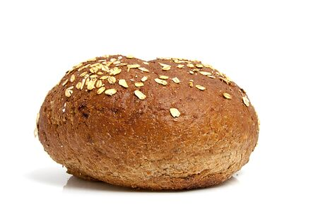 One healthy home baked bun on white background Stock Photo