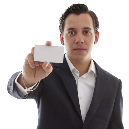 owning: young business man is holding empty card for your own text over white background