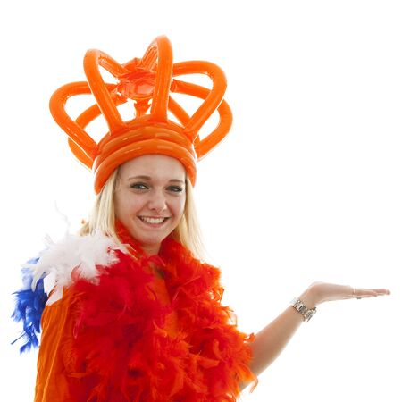dutch girl: Young woman as Dutch orange supporter is showing something over white background
