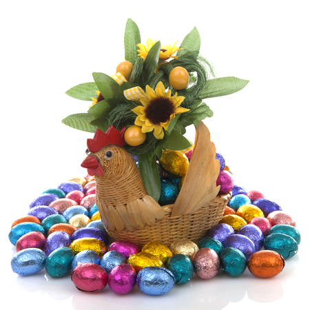 Easter scenery with colorful chocolate eggs, flowers and chicken over white background