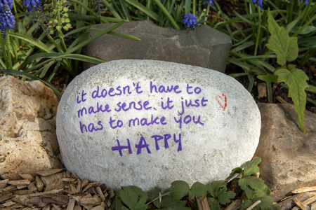 Stone with text: It doesn't have tot make sense, it just has to make you happy in nature