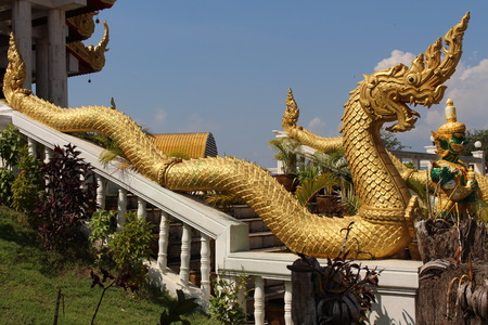 relate: relate King of Nagas in Ahong Silawat Temple or Wat Ahong Silawat Stock Photo