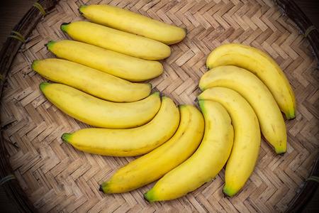 moulder: Ripe bananas on a bamboo tray
