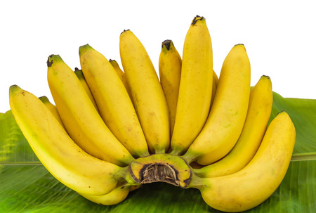 bad banana: Ripe bananas on a  leaf Stock Photo