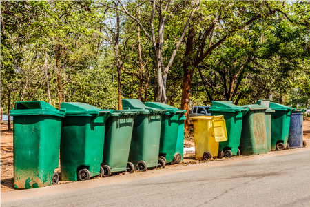 recycle bins in forest photo