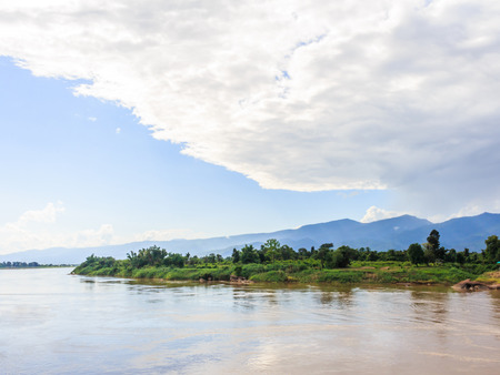 stockphoto: Khong river at Ahong silawas Temple in Bueng kan ,Thailand  stockphoto