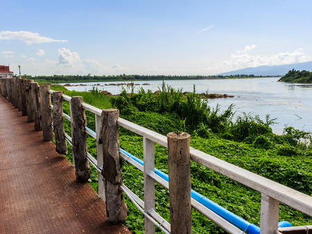 khong river: Khong river at Ahong silawas Temple in Bueng kan ,Thailand  stockphoto