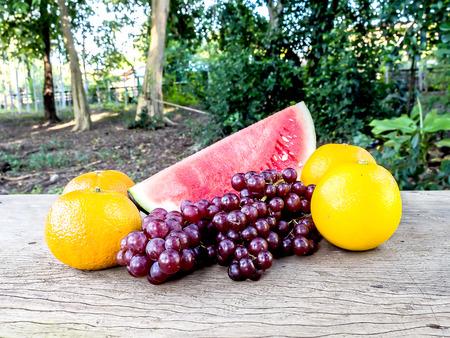 mix fruit: Mix fruit water melon grape and orange Stock Photo