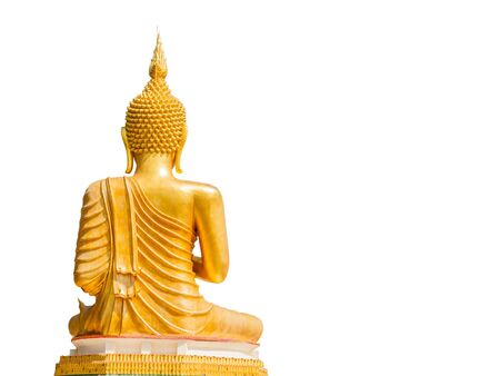 buddha statue: Big Golden Buddha statue in Thailand temple in white background with clipping path Stock Photo